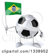 Clipart Of A 3d Soccer Ball Character Holding A Brazilian Flag Royalty Free Illustration