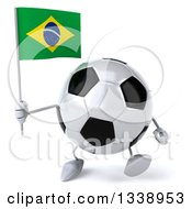 Clipart Of A 3d Soccer Ball Character Holding A Brazilian Flag And Walking Royalty Free Illustration