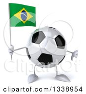 Clipart Of A 3d Soccer Ball Character Holding A Brazilian Flag And Giving A Thumb Down Royalty Free Illustration