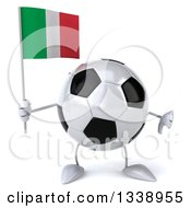 Clipart Of A 3d Soccer Ball Character Holding An Italian Flag And Giving A Thumb Down Royalty Free Illustration