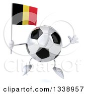 Clipart Of A 3d Soccer Ball Character Holding A Belgian Flag And Jumping Royalty Free Illustration