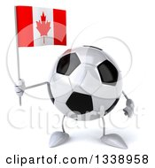 Clipart Of A 3d Soccer Ball Character Holding A Canadian Flag Royalty Free Illustration