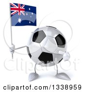 Clipart Of A 3d Soccer Ball Character Holding And Pointing To An Australian Flag Royalty Free Illustration