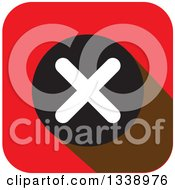 Clipart Of A White Negation X Mark In A Black Circle On A Red Rounded Corner Square App Icon Design Element Royalty Free Vector Illustration by ColorMagic