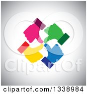 Clipart Of A Circle Of Colorful Thumb Up Like Hands Over Gray Shading Royalty Free Vector Illustration by ColorMagic