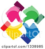 Clipart Of A Circle Of Colorful Thumb Up Like Hands Royalty Free Vector Illustration by ColorMagic