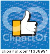 Clipart Of A Yellow Cuffed Thumb Up Like Hand Over Blue With Dots App Icon Design Element Royalty Free Vector Illustration by ColorMagic
