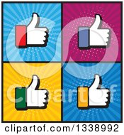 Clipart Of Colorful Cuffed Thumb Up Like Hand App Icon Design Elements Over Ray Squares Royalty Free Vector Illustration by ColorMagic