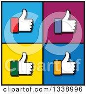 Clipart Of Colorful Cuffed Thumb Up Like Hand App Icon Design Elements Over Squares Royalty Free Vector Illustration by ColorMagic