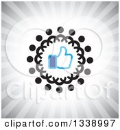 Clipart Of A Blue Thumb Up Like App Icon Design Element In A Ring Of Black Abstract People Over Gray Rays Royalty Free Vector Illustration