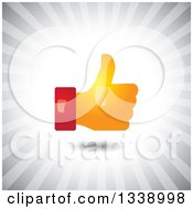 Clipart Of A Red And Orange Shiny Thumb Up Like App Icon Design Element Over Gray Rays Royalty Free Vector Illustration