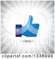 Clipart Of A Blue Shiny Thumb Up Like App Icon Design Element Over Gray Rays Royalty Free Vector Illustration