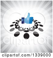 Clipart Of A Shiny Blue Thumb Up Like App Icon Design Element In A Ring Of Black Abstract People Over Gray Rays Royalty Free Vector Illustration
