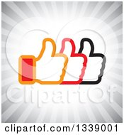 Clipart Of Three Thumbs Up Like App Icon Design Element Over Gray Rays Royalty Free Vector Illustration