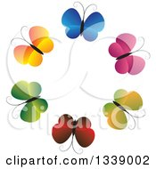 Clipart Of A Circle Of Gradient Colorful Butterflies Royalty Free Vector Illustration by ColorMagic