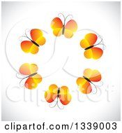 Clipart Of A Circle Of Gradient Orange Butterflies Over Shading Royalty Free Vector Illustration by ColorMagic
