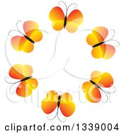 Clipart Of A Circle Of Gradient Orange Butterflies Royalty Free Vector Illustration by ColorMagic