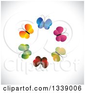 Clipart Of A Circle Of Gradient Colorful Butterflies Over Shading Royalty Free Vector Illustration by ColorMagic