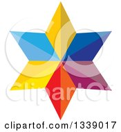 Clipart Of A 3d Colorful Geometric Star Royalty Free Vector Illustration