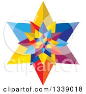Clipart Of A 3d Colorful Geometric Star 2 Royalty Free Vector Illustration