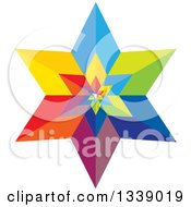 Clipart Of A 3d Colorful Geometric Star 3 Royalty Free Vector Illustration
