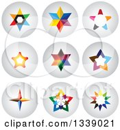 Clipart Of Colorful Star Round Shaded App Icon Design Elements Royalty Free Vector Illustration by ColorMagic