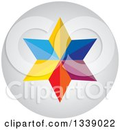 Clipart Of A Colorful Star Round Shaded App Icon Design Element Royalty Free Vector Illustration by ColorMagic