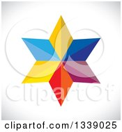 Clipart Of A 3d Colorful Geometric Star Over Gray Shading Royalty Free Vector Illustration by ColorMagic