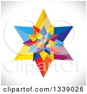 Clipart Of A 3d Colorful Geometric Star Over Gray Shading 2 Royalty Free Vector Illustration by ColorMagic