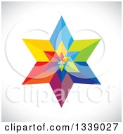 Clipart Of A 3d Colorful Geometric Star Over Gray Shading 3 Royalty Free Vector Illustration by ColorMagic