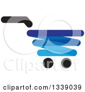 Clipart Of A Blue Shopping Cart Retail Icon Royalty Free Vector Illustration