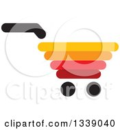 Clipart Of A Red Yellow Black And Orange Shopping Cart Retail Icon Royalty Free Vector Illustration