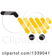 Clipart Of A Yellow Shopping Cart Retail Icon Royalty Free Vector Illustration