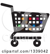 Clipart Of A Colorful Pixel Or Tile Shopping Cart Retail Icon Royalty Free Vector Illustration