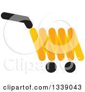 Clipart Of A Black And Orange Shopping Cart Retail Icon Royalty Free Vector Illustration