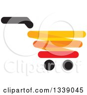Clipart Of A Red Yellow Black And Orange Shopping Cart Retail Icon 3 Royalty Free Vector Illustration