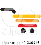 Clipart Of A Red Yellow Black And Orange Shopping Cart Retail Icon 2 Royalty Free Vector Illustration