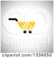 Clipart Of A Yellow Shopping Cart Retail Icon Over Shading Royalty Free Vector Illustration