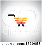 Clipart Of A Red Yellow Black And Orange Shopping Cart Retail Icon Over Shading Royalty Free Vector Illustration