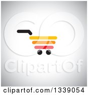 Clipart Of A Red Yellow Black And Orange Shopping Cart Retail Icon Over Shading 2 Royalty Free Vector Illustration by ColorMagic