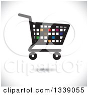 Clipart Of A Floating Colorful Pixel Or Tile Shopping Cart Retail Icon Over Shading Royalty Free Vector Illustration by ColorMagic