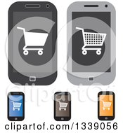 Clipart Of Shopping Cart Checkout Icons On Cell Phone Screens Royalty Free Vector Illustration by ColorMagic