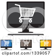Clipart Of Shopping Cart Checkout Icons On Desktop Computer Screens Royalty Free Vector Illustration
