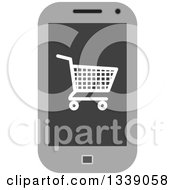 Clipart Of A Shopping Cart Checkout Icon On A Cell Phone Screen 2 Royalty Free Vector Illustration