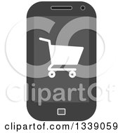 Clipart Of A Shopping Cart Checkout Icon On A Cell Phone Screen Royalty Free Vector Illustration
