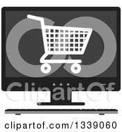 Clipart Of A Shopping Cart Checkout Icon On A Desktop Computer Screen Royalty Free Vector Illustration