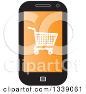 Clipart Of A Shopping Cart Checkout Icon On An Orange Cell Phone Screen Royalty Free Vector Illustration