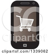 Clipart Of A Shopping Cart Checkout Icon On A Brown Cell Phone Screen Royalty Free Vector Illustration