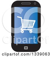 Clipart Of A Shopping Cart Checkout Icon On A Blue Cell Phone Screen Royalty Free Vector Illustration