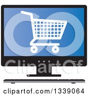 Clipart Of A Shopping Cart Checkout Icon On A Blue Desktop Computer Screen Royalty Free Vector Illustration
